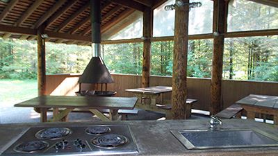 North Red Mountain Picnic Shelter Cooktop & Sink